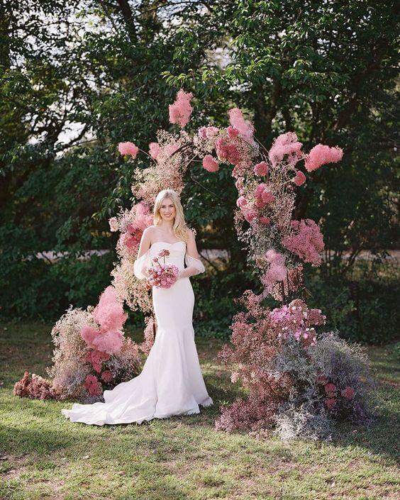 baby breath wedding arch in pink