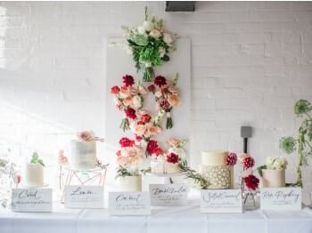 cake table with flower backdrop at The West Mill Venue
