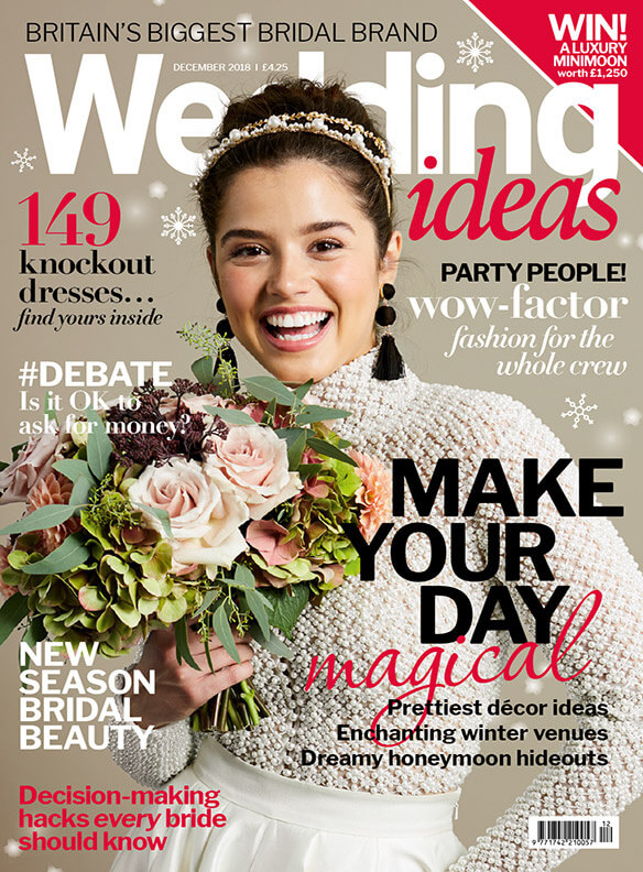 Autumnal wedding flowers bouquet with roses and hydrangeas on the cover of wedding ideas magazine