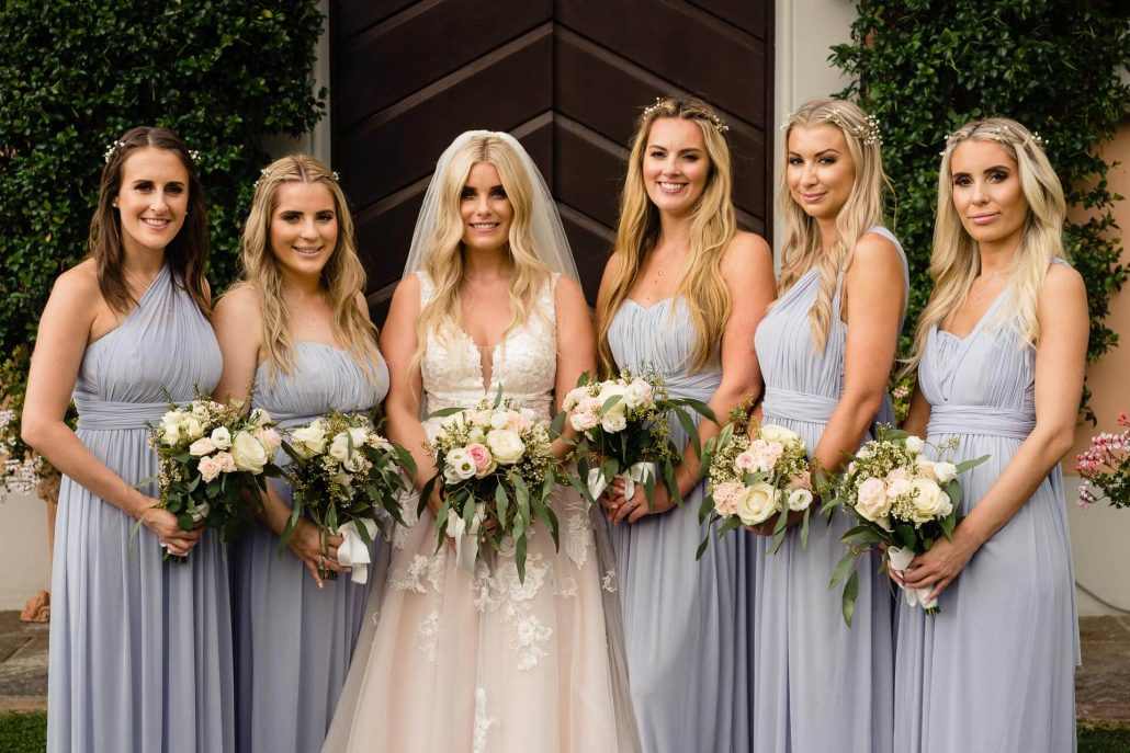 bride and bridesmaids group photos for a Tuscan Wedding