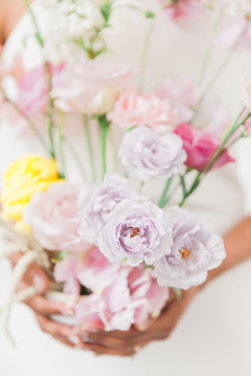 floral arrangement in lilac and yellow