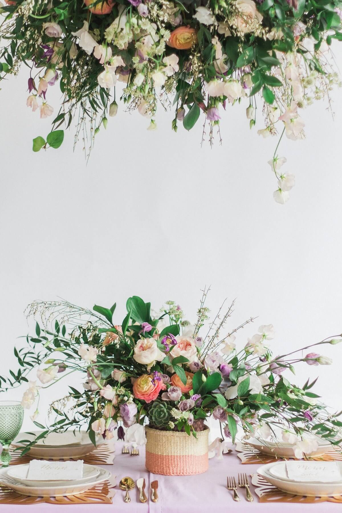suspended greenery table decoration for London wedding