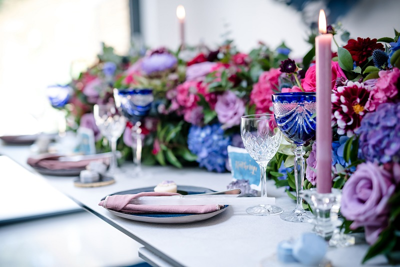 blue pink purple flower table runner for a London dinner party