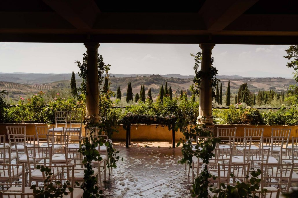 wedding ceremony view in Tuscany