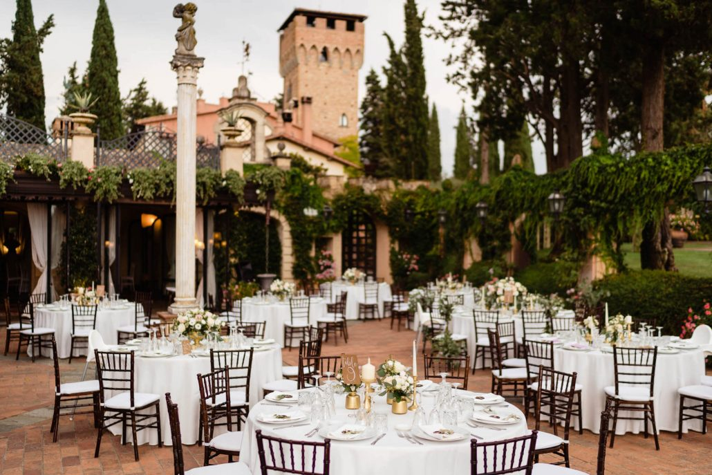 dinner reception set up for a Tuscany wedding